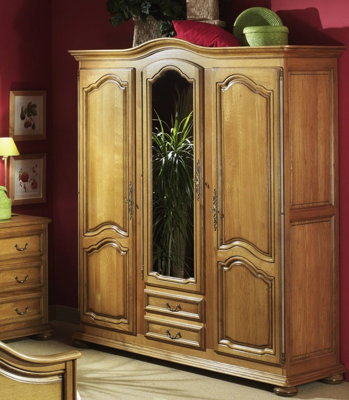 armoire 3 portes dont 1 glace lo c gr aume les meubles du roumois. Black Bedroom Furniture Sets. Home Design Ideas